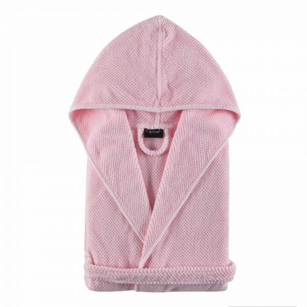 Bad & Morgonrock Bee Waffle Hooded Barn Pink Pearl