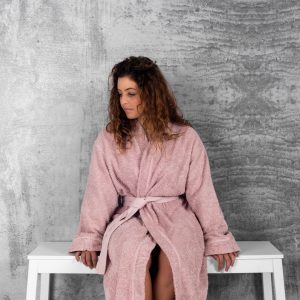Bad & Morgonrock Ribbon Kimono rosa Miljö