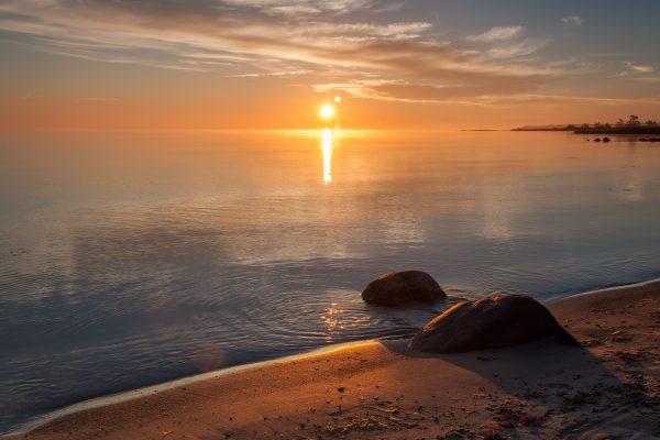 Solnedgång Gotländsk strand